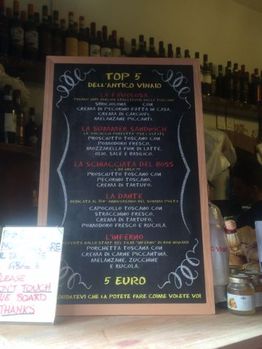 ALL'ANTICO VINAIO MENU